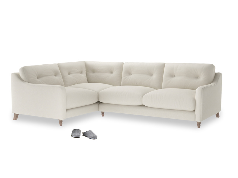 Large Left Hand Slim Jim Corner Sofa in Chalky White Clever Softie