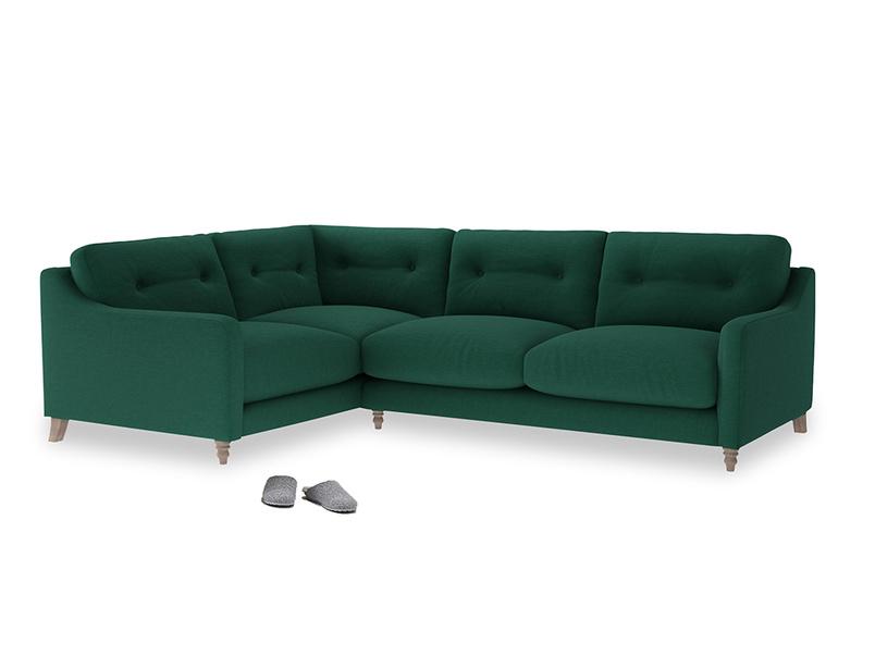 Large Left Hand Slim Jim Corner Sofa in Cypress Green Vintage Linen