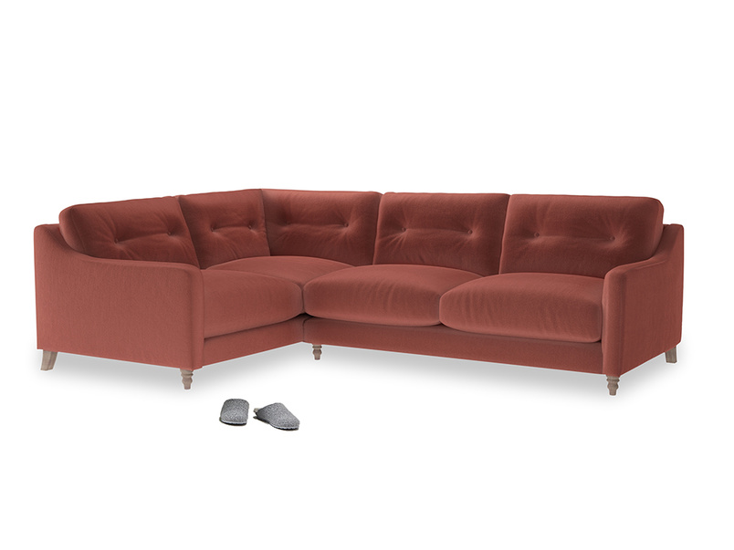 Large Left Hand Slim Jim Corner Sofa in Dusty Cinnamon Clever Velvet