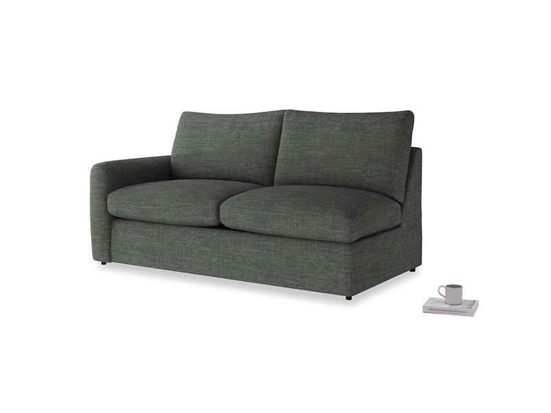 Chatnap Sofa Bed in Pencil Grey Clever Laundered Linen with a left arm