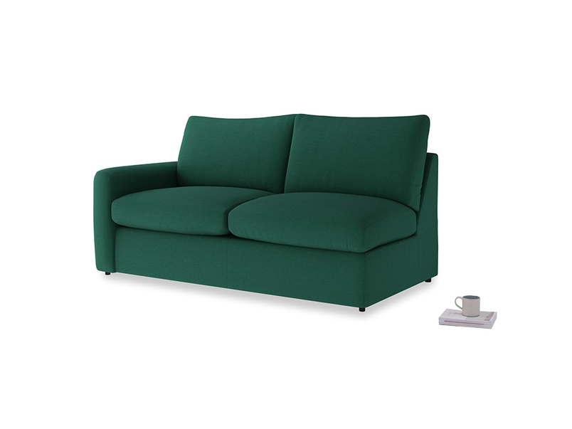 Chatnap Sofa Bed in Cypress Green Vintage Linen with a left arm