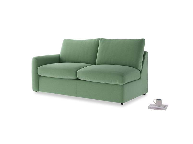 Chatnap Sofa Bed in Thyme Green Vintage Linen with a left arm