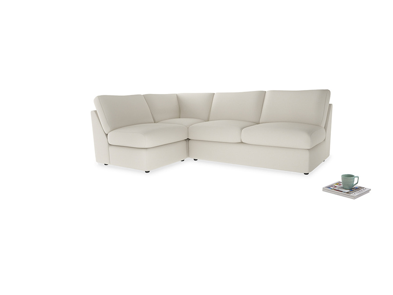 Large left hand Chatnap modular corner sofa bed in Chalky White Clever Softie