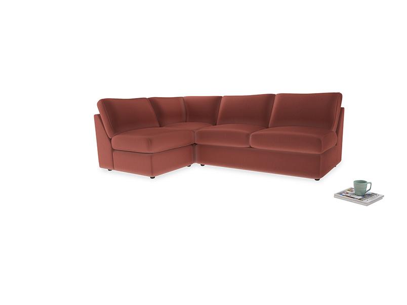 Large left hand Chatnap modular corner sofa bed in Dusty Cinnamon Clever Velvet