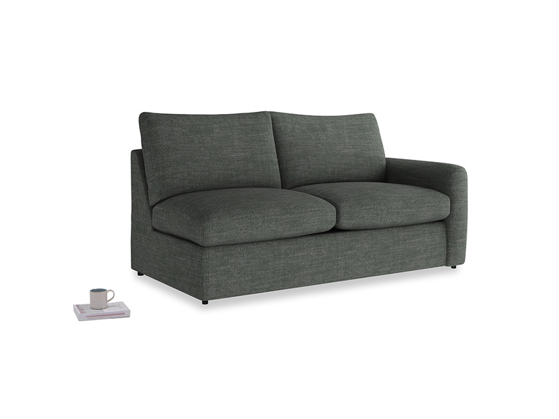 Chatnap Sofa Bed in Pencil Grey Clever Laundered Linen with a right arm
