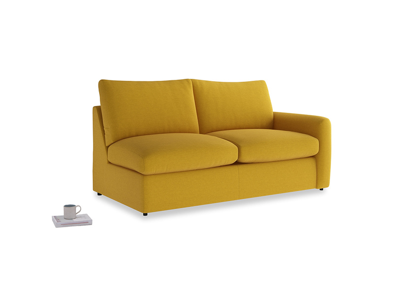 Chatnap Sofa Bed in Yellow Ochre Vintage Linen with a right arm