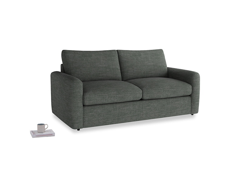 Chatnap Sofa Bed in Pencil Grey Clever Laundered Linen with both arms
