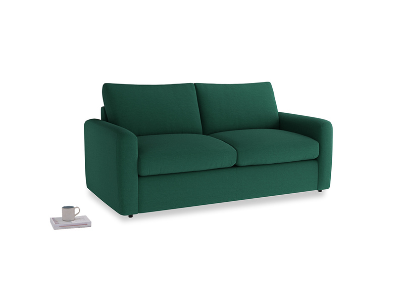 Chatnap Sofa Bed in Cypress Green Vintage Linen with both arms