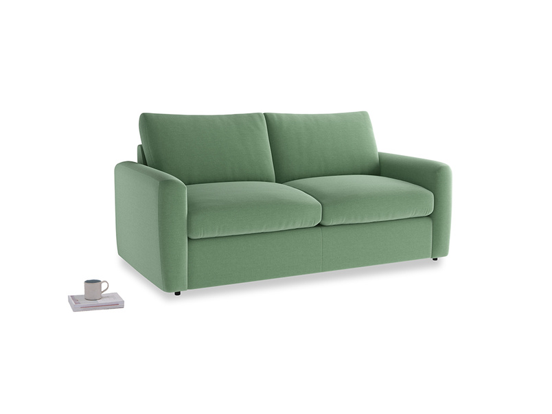 Chatnap Sofa Bed in Thyme Green Vintage Linen with both arms