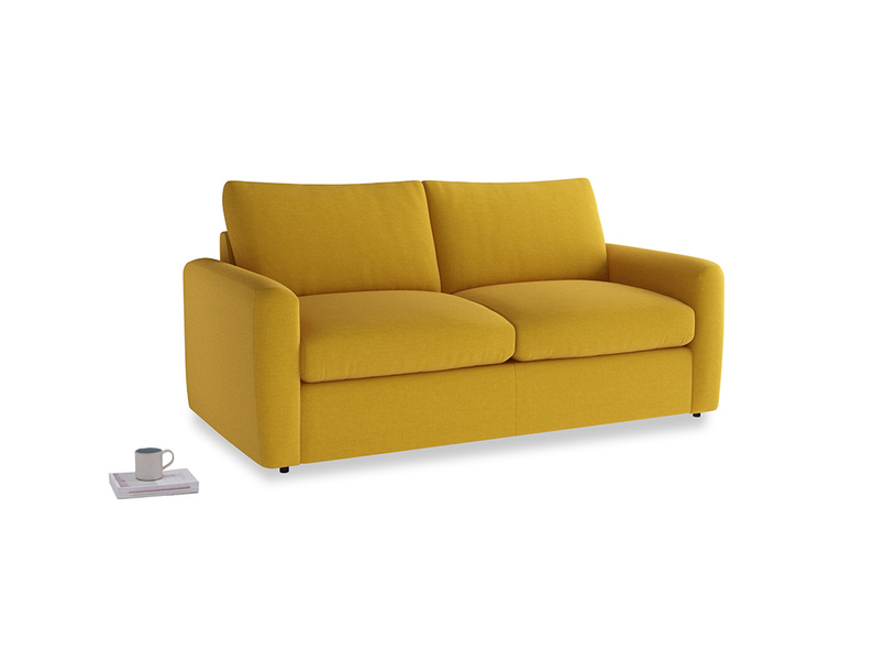 Chatnap Sofa Bed in Yellow Ochre Vintage Linen with both arms