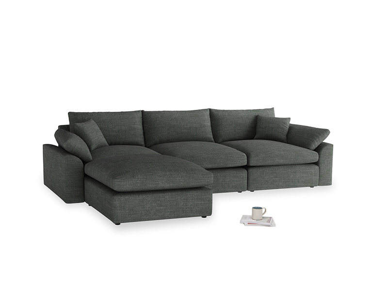 Large left hand Cuddlemuffin Modular Chaise Sofa in Pencil Grey Clever Laundered Linen