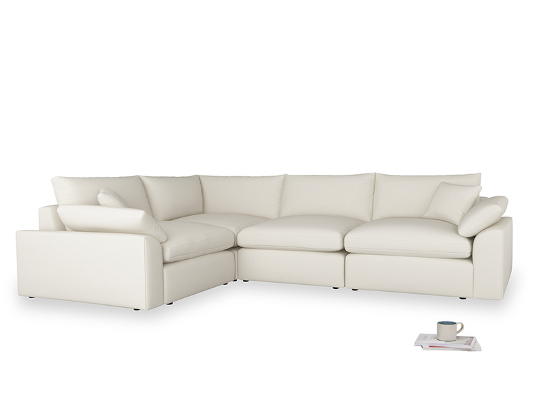 Large left hand Cuddlemuffin Modular Corner Sofa in Chalky White Clever Softie