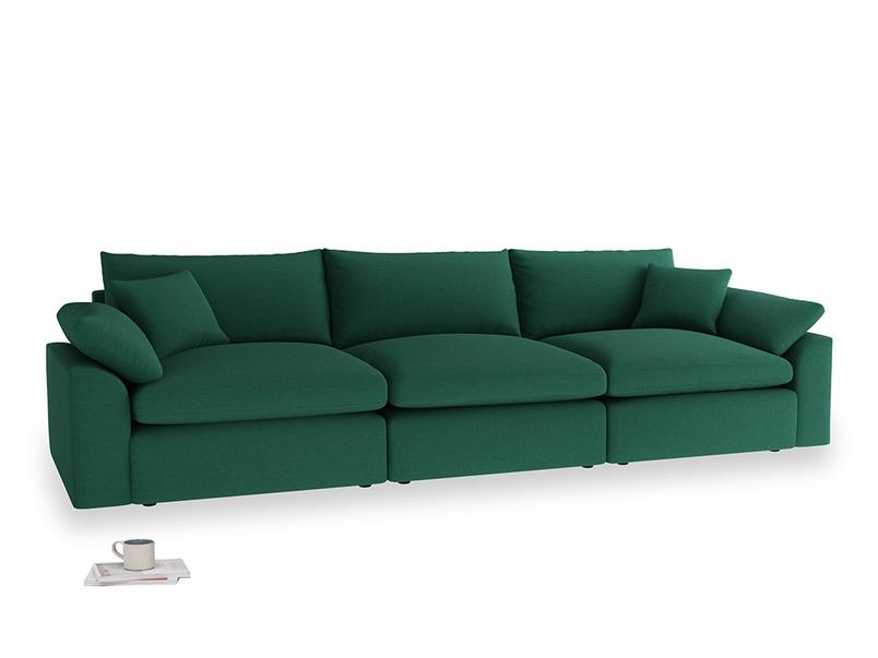 Large Cuddlemuffin Modular sofa in Cypress Green Vintage Linen