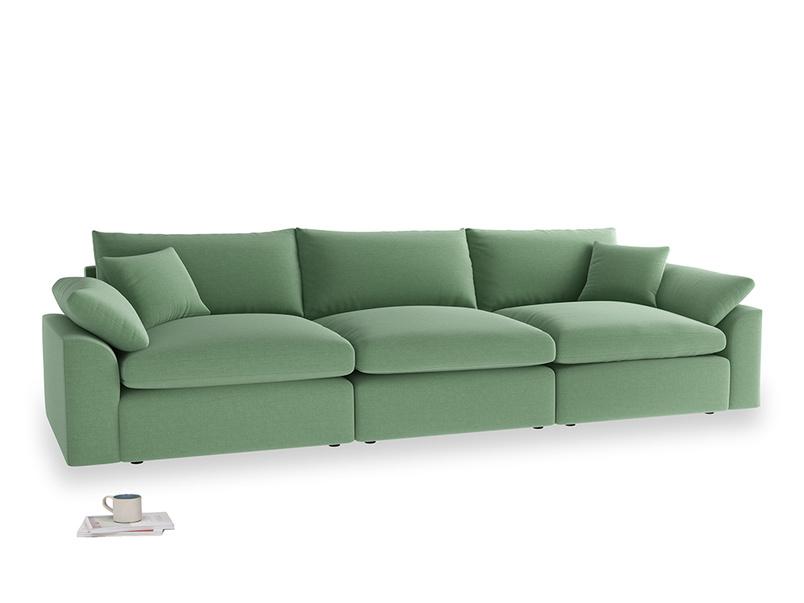 Large Cuddlemuffin Modular sofa in Thyme Green Vintage Linen
