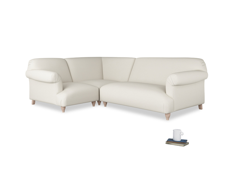 Large left hand Corner Soufflé Modular Corner Sofa in Chalky White Clever Softie and both Arms