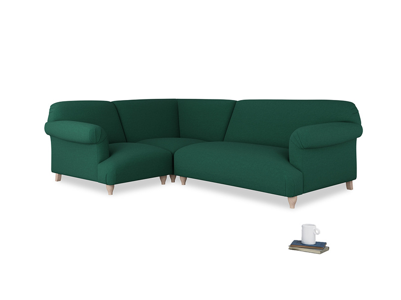 Large left hand Soufflé Modular Corner Sofa in Cypress Green Vintage Linen with both arms