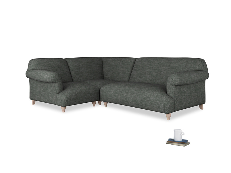 Large left hand Soufflé Modular Corner Sofa in Pencil Grey Clever Laundered Linen with both arms