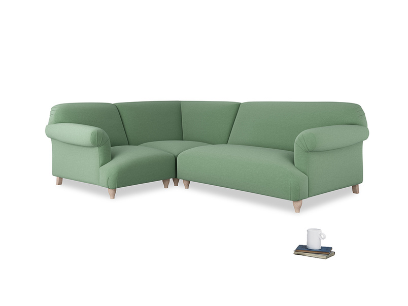 Large left hand Soufflé Modular Corner Sofa in Thyme Green Vintage Linen with both arms