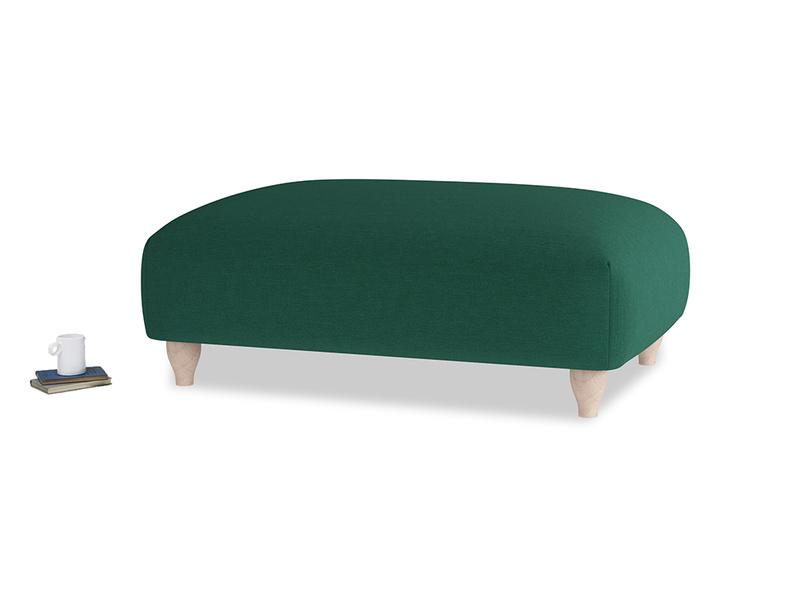 Soufflé Footstool in Cypress Green Vintage Linen