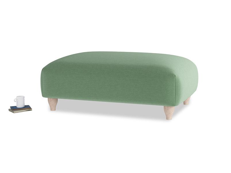 Soufflé Footstool in Thyme Green Vintage Linen