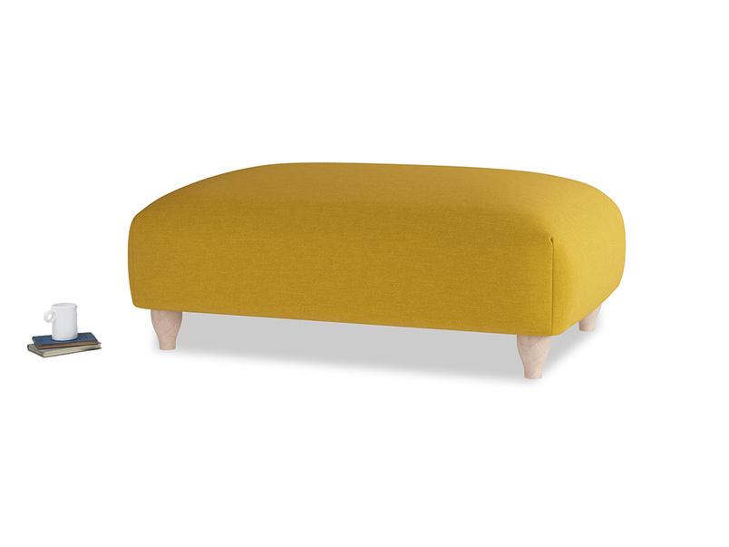 Soufflé Footstool in Yellow Ochre Vintage Linen