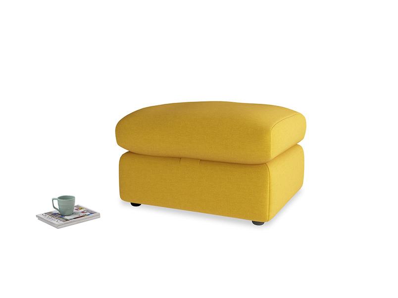 Chatnap Storage Footstool in Yellow Ochre Vintage Linen