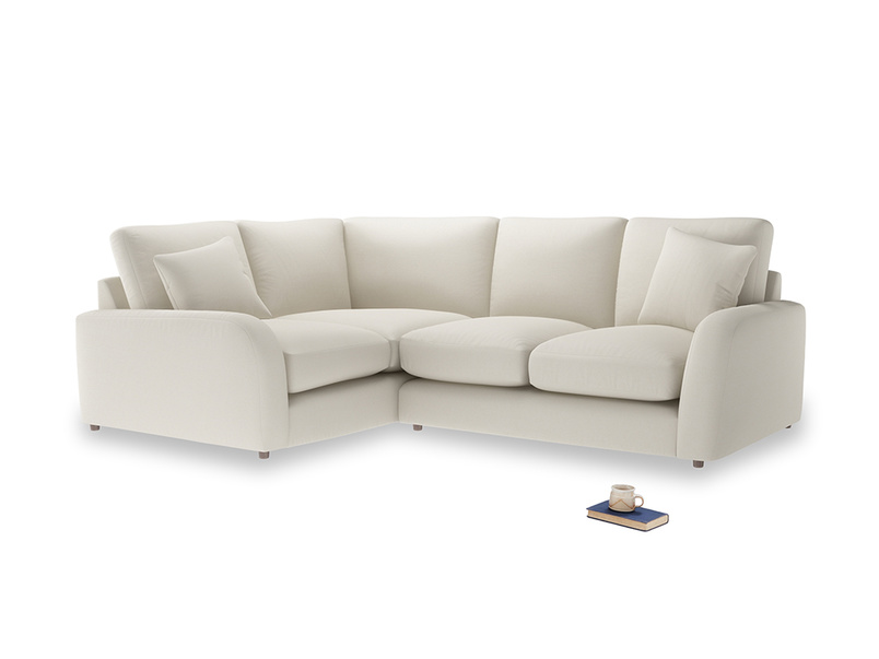 Large Left Hand Easy Squeeze Corner Sofa in Chalky White Clever Softie