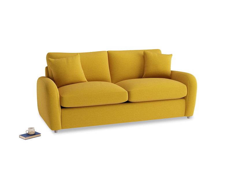 Medium Easy Squeeze Sofa Bed in Yellow Ochre Vintage Linen