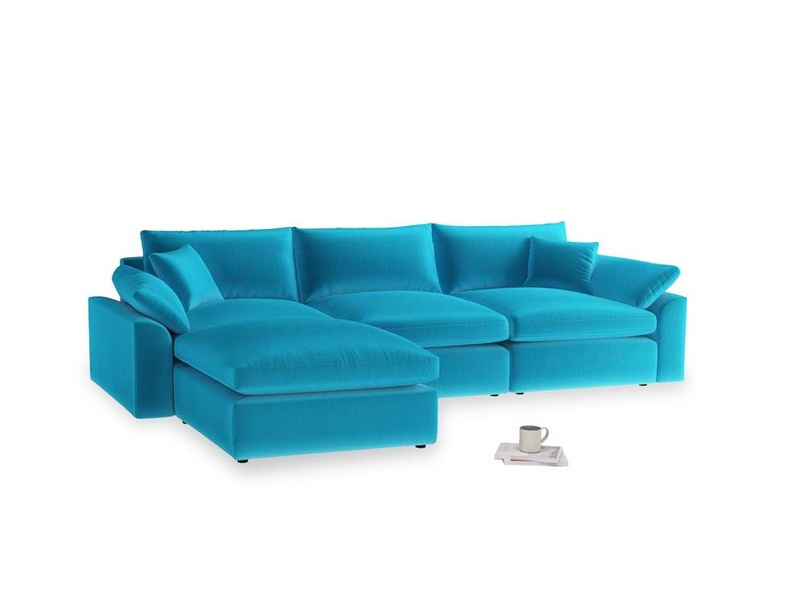Large left hand Cuddlemuffin Modular Chaise Sofa in Azure plush velvet