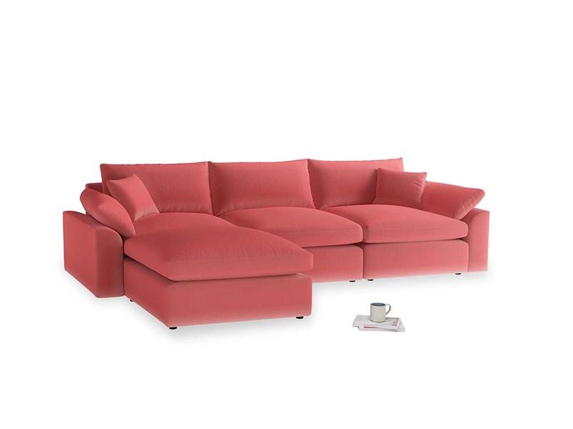 Large left hand Cuddlemuffin Modular Chaise Sofa in Carnival Clever Deep Velvet