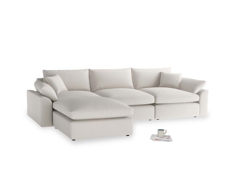 Large left hand Cuddlemuffin Modular Chaise Sofa in Chalk clever cotton