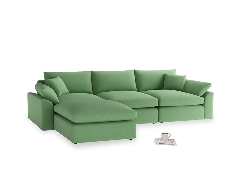 Large left hand Cuddlemuffin Modular Chaise Sofa in Clean green Brushed Cotton