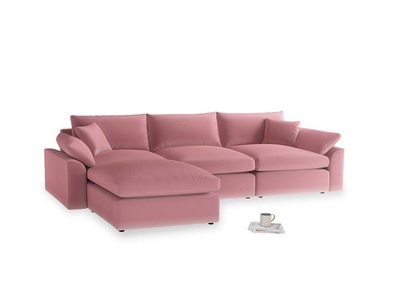 Large left hand Cuddlemuffin Modular Chaise Sofa in Dusty Rose clever velvet