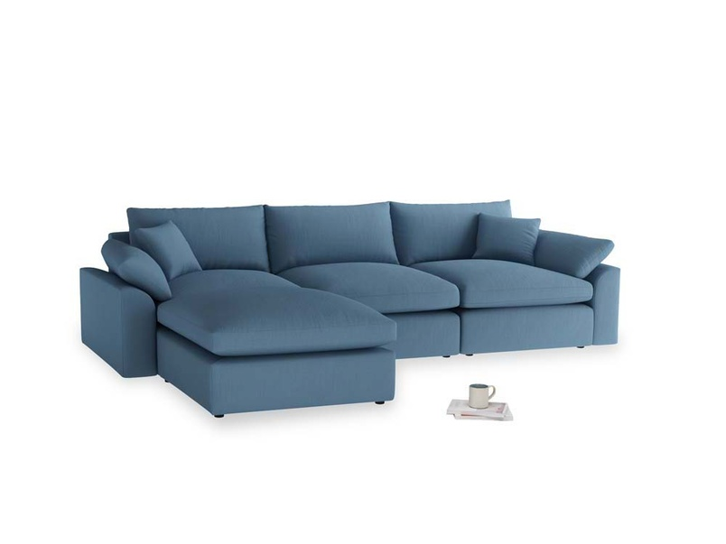 Large left hand Cuddlemuffin Modular Chaise Sofa in Easy blue clever linen