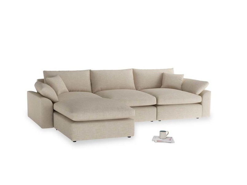 Large left hand Cuddlemuffin Modular Chaise Sofa in Flagstone clever woolly fabric
