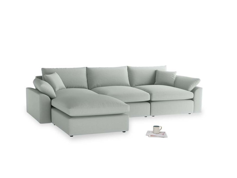 Large left hand Cuddlemuffin Modular Chaise Sofa in French blue brushed cotton