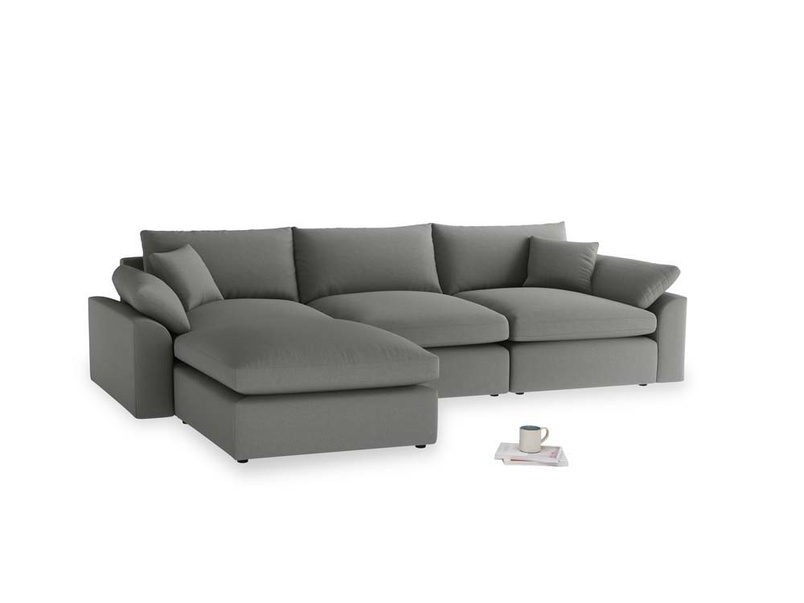 Large left hand Cuddlemuffin Modular Chaise Sofa in French Grey brushed cotton