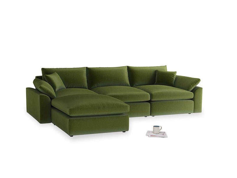 Large left hand Cuddlemuffin Modular Chaise Sofa in Good green Clever Deep Velvet