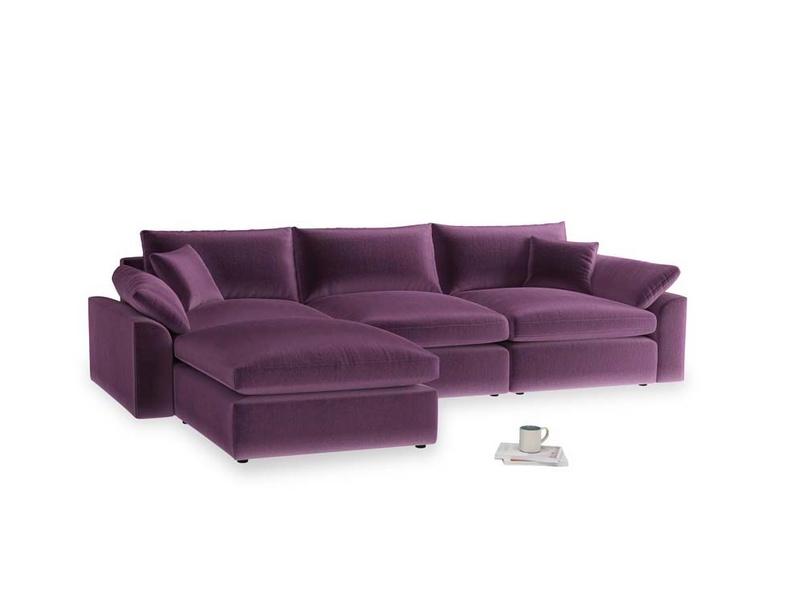 Large left hand Cuddlemuffin Modular Chaise Sofa in Grape clever velvet