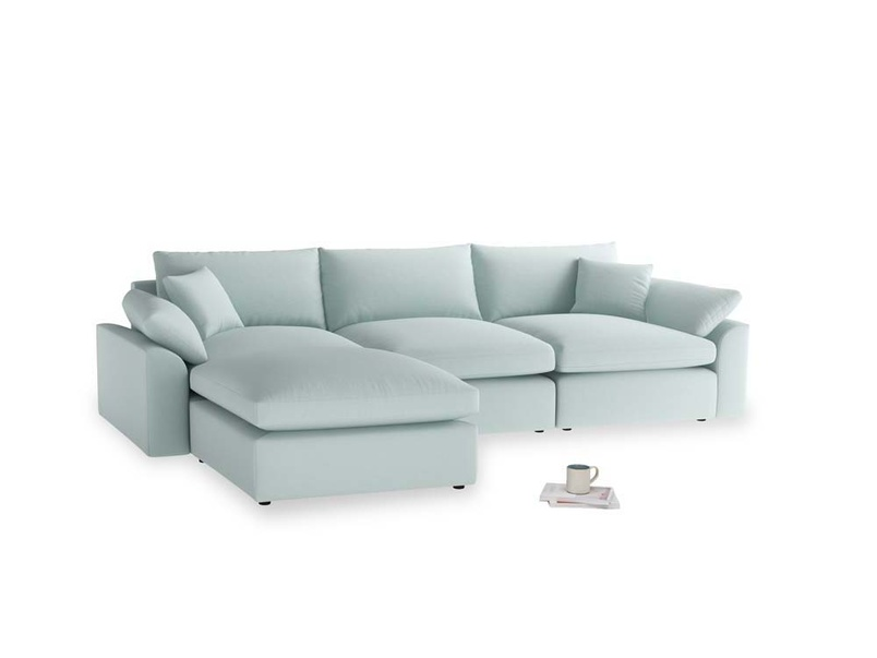 Large left hand Cuddlemuffin Modular Chaise Sofa in Gull's Egg Brushed Cotton