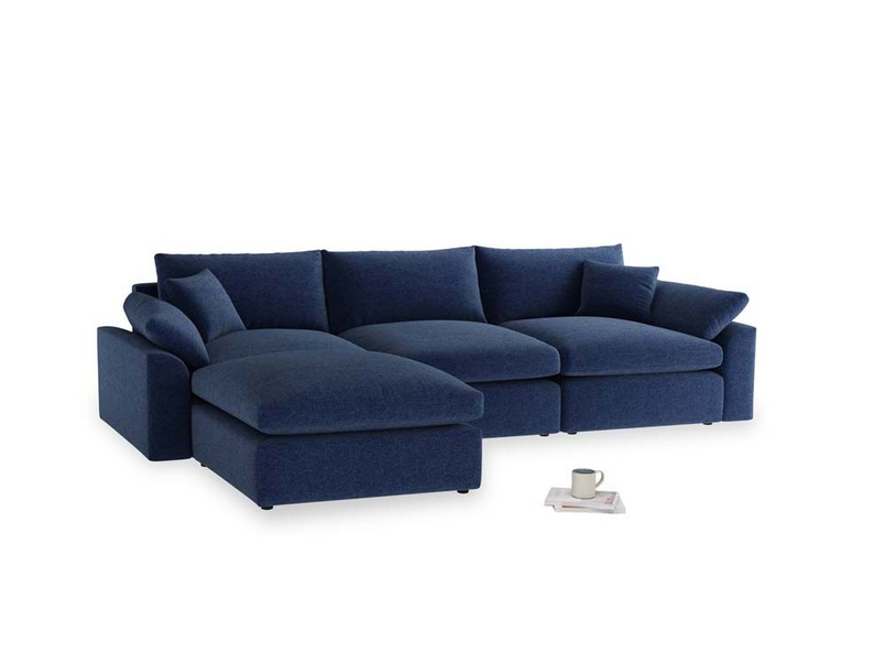 Large left hand Cuddlemuffin Modular Chaise Sofa in Ink Blue wool