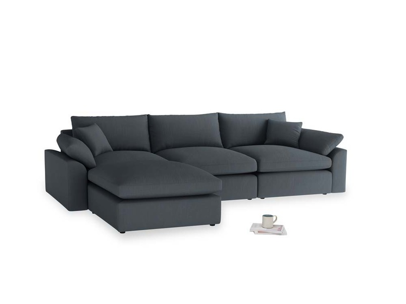 Large left hand Cuddlemuffin Modular Chaise Sofa in Lava grey clever linen