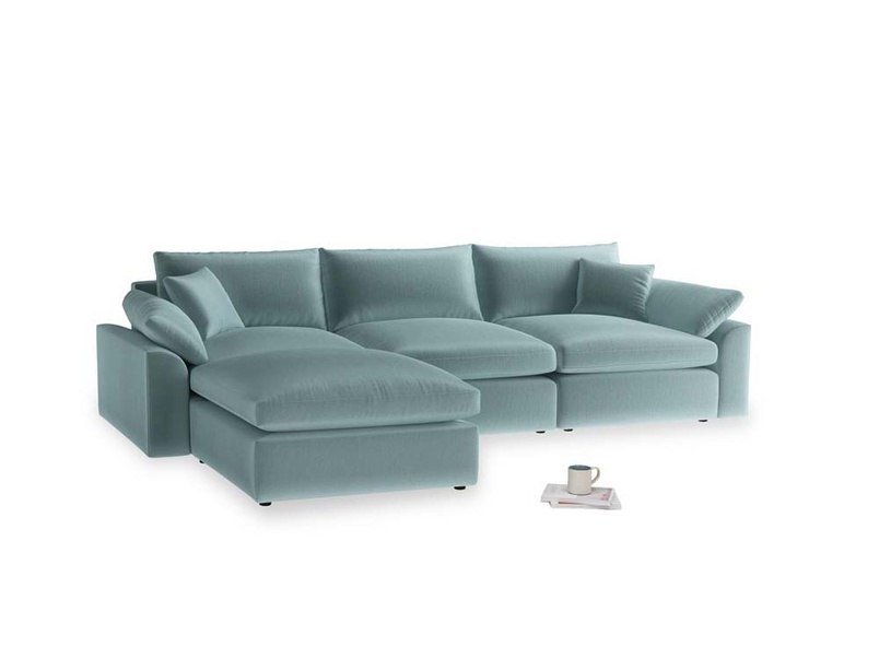 Large left hand Cuddlemuffin Modular Chaise Sofa in Lagoon clever velvet