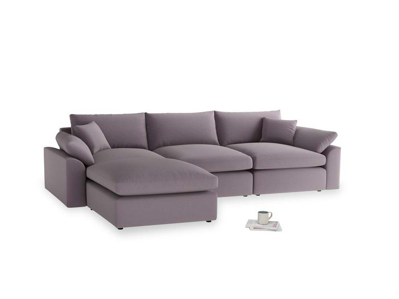 Large left hand Cuddlemuffin Modular Chaise Sofa in Lavender brushed cotton