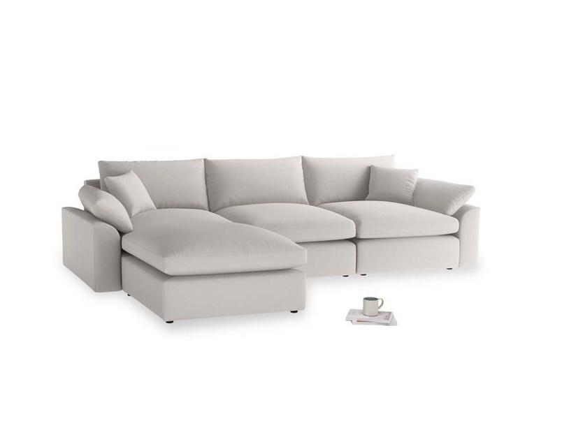Large left hand Cuddlemuffin Modular Chaise Sofa in Lunar Grey washed cotton linen