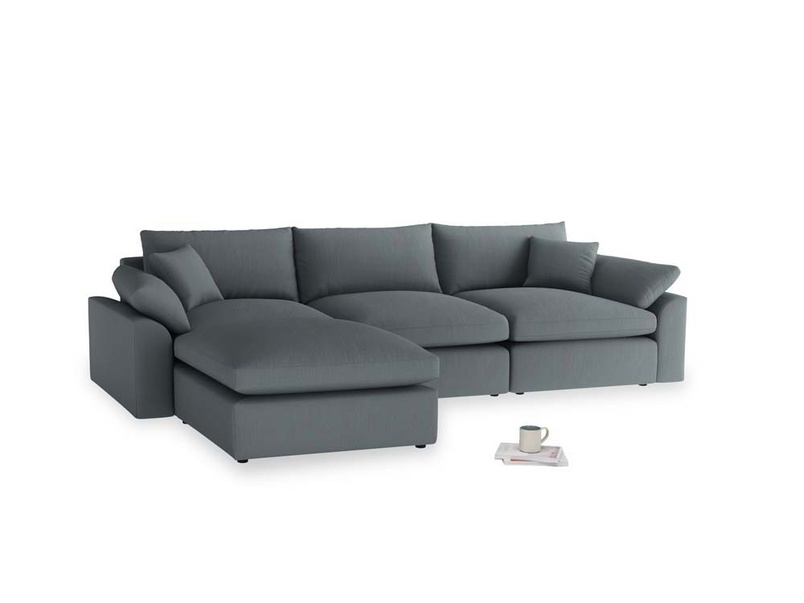 Large left hand Cuddlemuffin Modular Chaise Sofa in Meteor grey clever linen