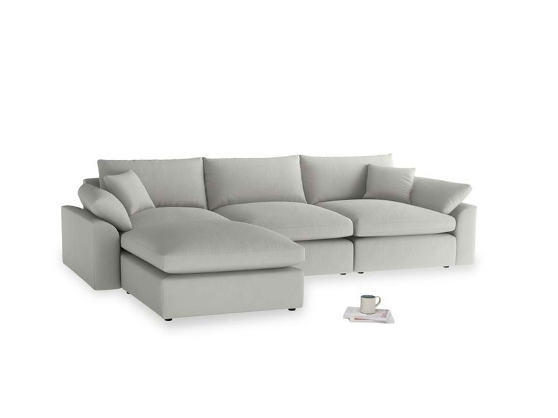 Large left hand Cuddlemuffin Modular Chaise Sofa in Mineral grey clever linen