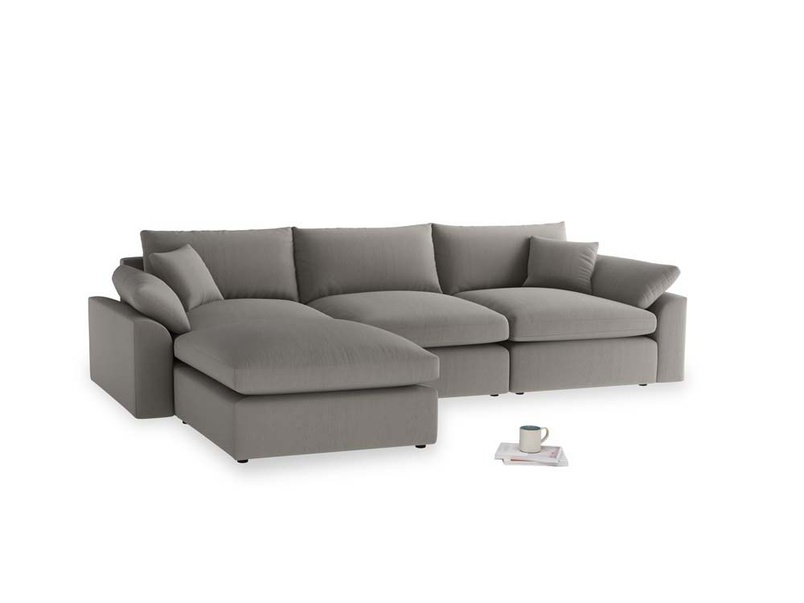 Large left hand Cuddlemuffin Modular Chaise Sofa in Monsoon grey clever cotton