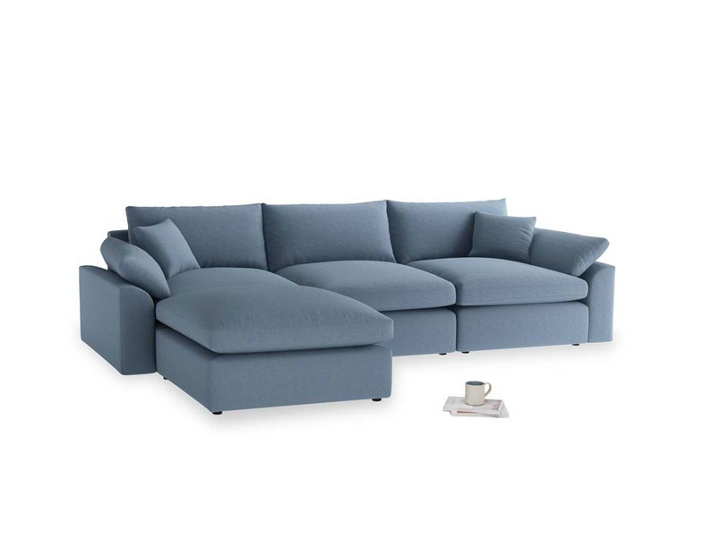 Large left hand Cuddlemuffin Modular Chaise Sofa in Nordic blue brushed cotton