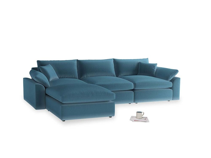 Large left hand Cuddlemuffin Modular Chaise Sofa in Old blue Clever Deep Velvet
